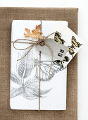 Wrapped gift with butterfly motif and number 45