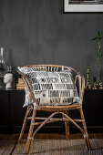 Rattan chair with cushion, cover with DIY stamp print