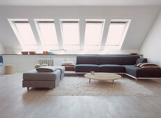 Modern living room with a series of skylights
