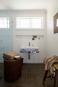 Simple bathroom in brown and white