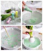 Instructions for marbling hyacinth bulbs covered with wax