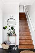 Wooden staircase in hallway