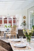 Set table on summery terrace