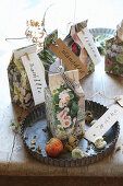 Seed packets handmade from magazine pages