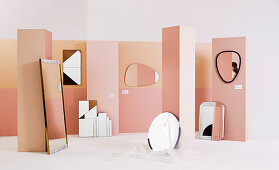 Different mirrors on pink panels