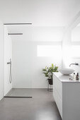 Washstand and shower area in white bathroom