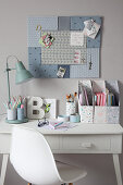 White desk with DIY organisers