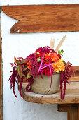 Late-summer bouquet of dahlias, zinnias and amaranth