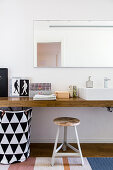 Floating wooden washstand