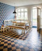 Corner bench in tiled kitchen-dining room