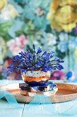 Blue agapanthus in copper bowl