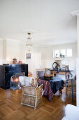 Black marble fireplace in pleasant living room