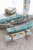 Crackers handmade from wintry wrapping paper