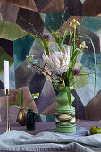 Bouquet of protea, star-of-Bethlehem, alliums and grasses
