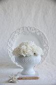 White carnations in white bowl