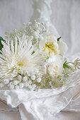 Chrysanthemums, peonies, gypsophila and astrantia