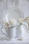White carnations and imitation amaranth