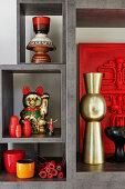 Ornaments on shelves