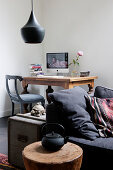 Sofa, side table, desk and chair in living room