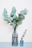 Posy of eucalyptus and sea holly