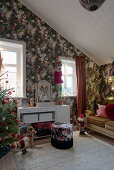 Opulent floral wallpaper in vintage-style teenager's bedroom