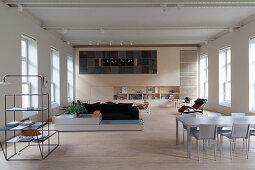 Designer furniture in loft apartment