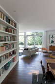 Bookcase in open-plan interior