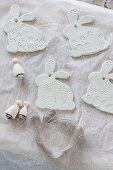 Handmade modelling clay Easter bunny pendants