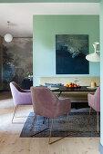 Elegant armchairs around dining table