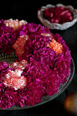 Wreath of carnations as scented table decoration