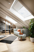 A bright living room with an upholstered sofa in an attic room