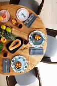 A table laid with papaya salad