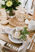 Easter table setting in natural colors