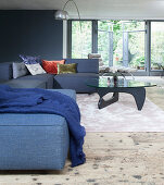 Gray upholstered suite and coffee table in the lounge area