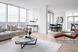 Modern multifunctional living space in a high-rise building