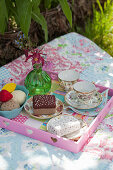 Handmade felt cakes and ice-cream and china teacups on tray on picnic blanket