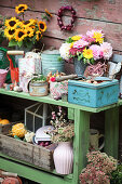 Autumn arrangement with bouquets and accessories for autumn planting of flower bulbs