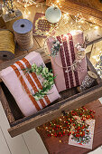 Creative packaging ideas using linen napkins and lace trim