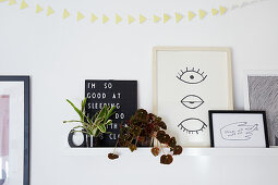 Foliage plants and pictures on floating shelf