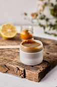 Handmade, natural face mask made from lemon and turmeric