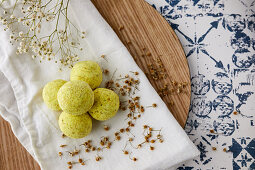 Handmade, natural fizzy bath bombs with chamomile and lemon