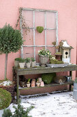 Rustic console with flower pots and nest boxes on the terrace