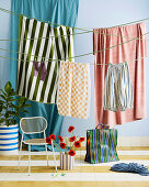 Clothesline with laundry in the room