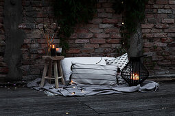 Atmospheric decoration for a cosy summer evening on the terrace