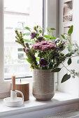 Autumn bouquet with eucalyptus and sedums