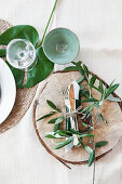 Summery place setting with Mediterranean greenery