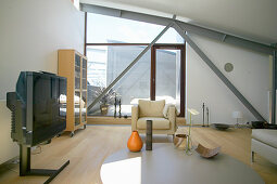 TV room with roof terrace in loft apartment