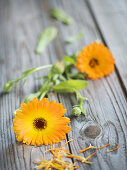 Marigolds on a wooden surface