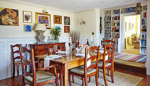 Late Victorian mahogany furniture in the dining room
