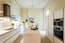 Modern kitchen in an old building flat, Hamburg, Germany